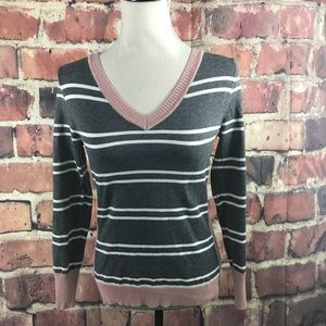 Hippie Rose V-Neck Striped Sweater  Sz M